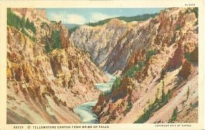 Yellowstone Canyon from Brink of Falls, 1929 unused linen...