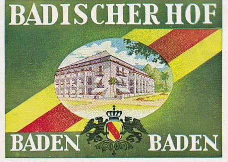 GERMANY BADEN BADEN BADISCHER HOF VINTAGE LUGGAGE LABELS