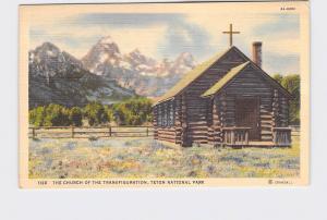 VINTAGE POSTCARD NATIONAL STATE PARK GRAND TETON CHURCH OF THE TRANSFIGURATION