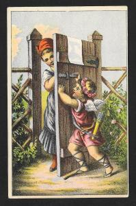 VICTORIAN TRADE CARD Cupid at the Gate