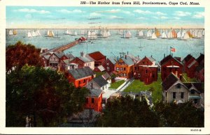 Massachusetts Cape Cod Provincetown The Harbor From Town Hill 1946