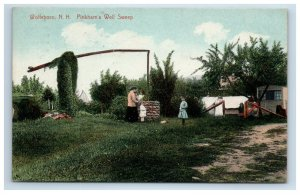 Wolfeboro NH Pinkham's Well Sweep Postcard Mother Children Hand Colored