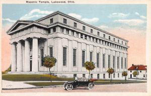 Masonic Temple, Lakewood, Ohio, Early Postcard, Unused