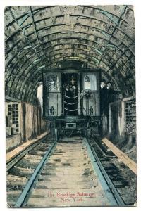 Brooklyn Subway Train Railroad Tunnel New York City NY 1913 postcard
