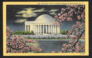 Jefferson Memorial @ Nite Washington DC unused c1946
