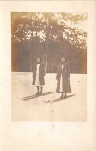 Real Photo Postcard~In Wisconsin~Ladies in Dresses on Snow Skis~c1918 RPPC