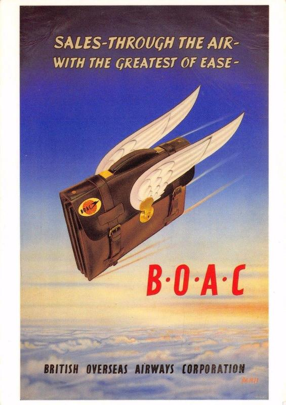 Postcard Sales Through The Air with the Greatest of Ease BOAC Repro Advert Card