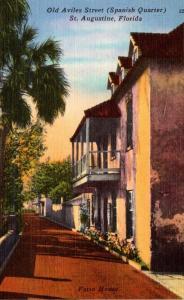 Florida St Augustine Old Aviles Street Spanish Quarter 1953