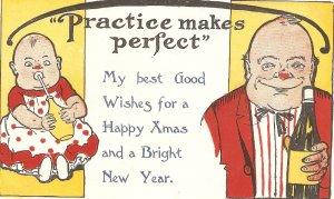 Practice makes perfect Humorous vintage American postcard