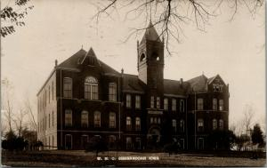Shenandoah Iowa~Western Normal College Building~Man on Crutches~1909 RPPC