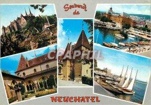 Modern Postcard Souvenir de Neuchatel The Collegiate The Port and the city of...