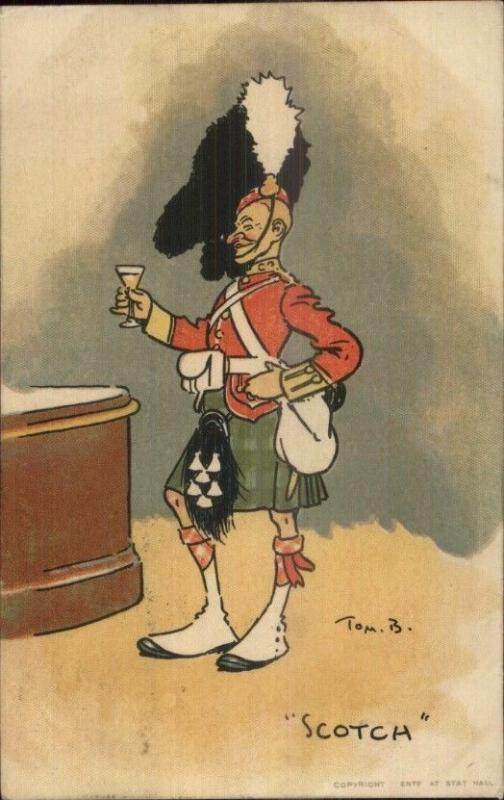 Tom B Browne Military Scotch Scotland Soldier Kilt Drinking Alcohol Postcard