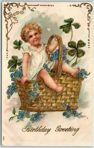 Vintage 1910s BIRTHDAY Greetings Postcard Angel Child in Flower Basket - UNUSED