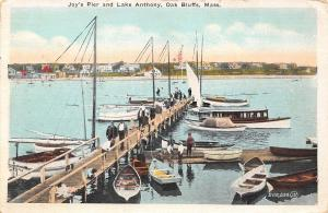Oak Bluffs Massachusetts~Joy's Pier~Lake Anthony~Men on Dock~Boys~Dog~1922