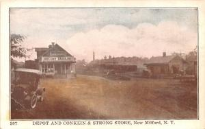 Depot & Conklin & Strong Store New Milford, New York Postcard