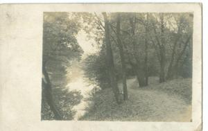 Woods, Trees & River, early 1900s used real photo Postcard