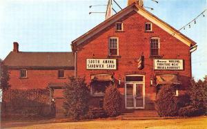South Amana IA Sandwich Shop Furniture Meat Etc. Postcard