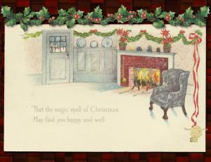 Christmas Postcard Set of 6, Holiday Hearth with Holly Leaves and Berries