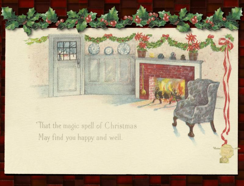 Christmas Postcard Set of 12, Holiday Hearth with Holly Leaves and Berries