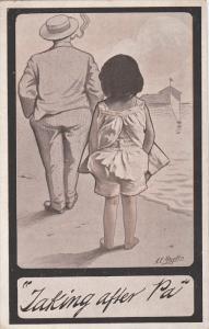 AS: A. E. Hayden, Man & Girl Walking Along The Shoreline, 1910-1920s