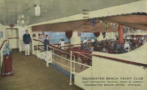 Edgewater Beach Yacht Club ~ Chicago IL Illinois ~ c1944 Postcard