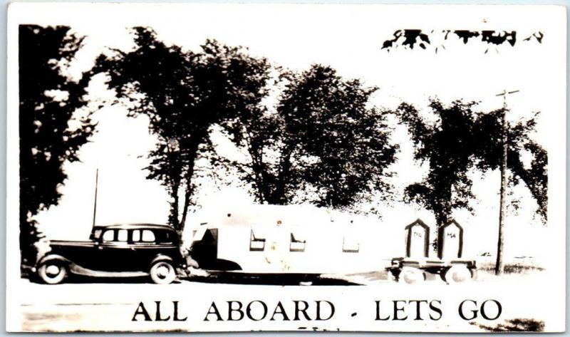 Vintage CAMPING Comic RPPC Photo Postcard Car, Trailer and