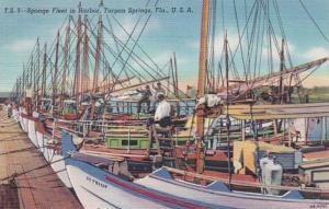 Florida Tarpon Springs Sponge Fleet In Harbor 1953 Curteich