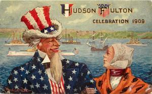 1909 Postcard Hudson-Fulton Celebration, Uncle Sam & European Woman, A/S Wall