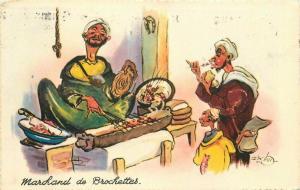 Comic Humor 1952 Morocco Ship Kabob Food Street Postcard Vendor 5749