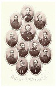Menge 12 Bürgerkrieg Postkarte Union Generäle Marineblau Lincoln & Mehr Selten