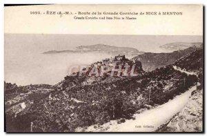 Old Postcard Eze Road Nice large cornice Menton