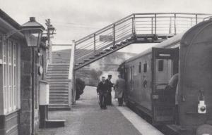 Elgin Grantown Train at Spey East Station in 1961 Railway Postcard