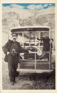 1932 Skagway Alaska Territory Postcard, Martin Itjen's Streetcar & Bear Cub