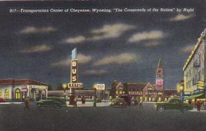 Bus Depot and Railroad Station At Night Transportation Center Of Cheyenne Wyo...