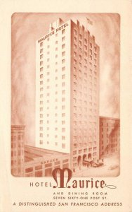 HOTEL MAURICE San Francisco, California 761 Post Street c1940s Vintage Postcard