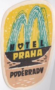 Czechoslovakia Podebrady Hotel Praha Vintage Luggage Label lbl0840