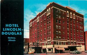 Quincy Illinois~Lincoln-Douglas Hotel~1950s Cars~Postcard