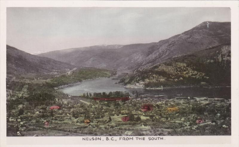 RP; Hand-colored, NELSON from the South, British Columbia, Canada, 1910-1920