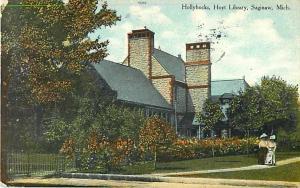 Hollyhocks in Front of Hoyt Library Saginaw MI 1910 Divided Back