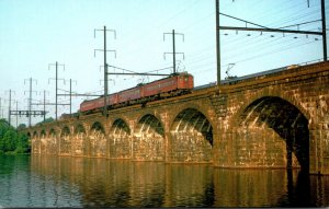 Trains Four Pennsylvania RR MP54 Electric Trolleys Crossing Delaware River At...