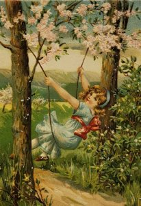 Adorable  Girl On A Tree Swing. C. 1910 Embossed Mountains Blue Dress Red Ribbon
