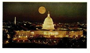 Moon over Capitol Building Washington DC Vintage Postcard