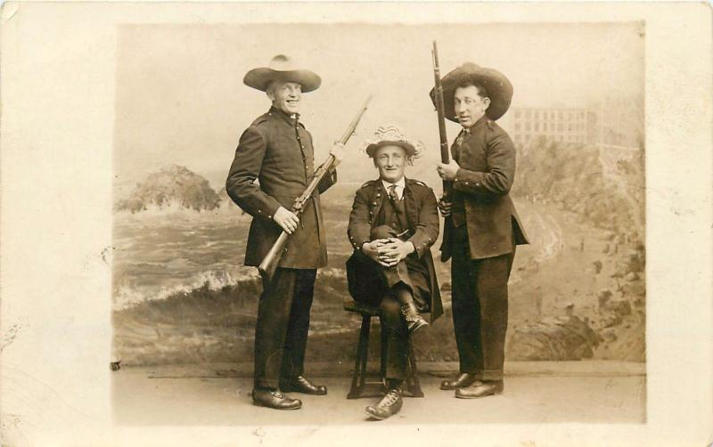 Studio Shot 3 Men In Military Uniforms. Two Holding Rifles Real PhotoPostcard