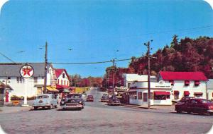 Inlet NY Storefronts Texaco Gas Station Sweet Shop Old Cars Postcard