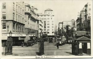 new zealand, AUCKLAND, Queen Street, Tram Car Police (1965) RPPC