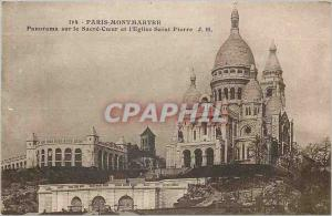 Old Postcard Panorama Paris Montmartre Sacre Coeur and the St. Peter's Church
