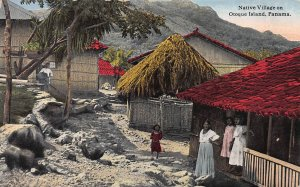 Native Village on Otoque Island, Panama,  Early Postcard, Unused