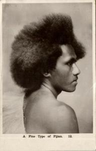 fiji islands, Fine Type of Fijian, Native Male (1930s) F.W. Caine RPPC 12