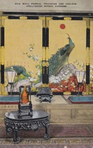 HOLLYWOOD, California, 1945; Silk Wall Panels, Peacocks and Azaeas, Hollywood...