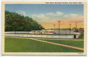 New Sports Stadium New Boston Ohio linen postcard